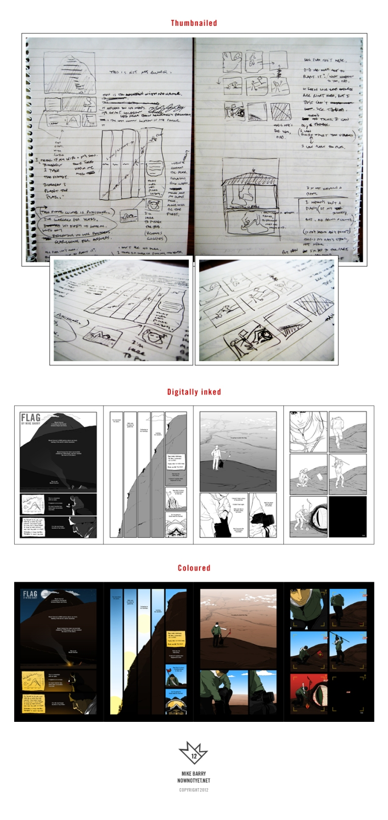 Comic creation process for FLAG